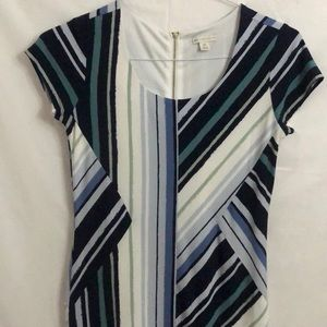 Cato Abstract Striped Career Exposed Zipper Dress
